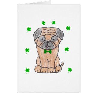 Cartão Dia de Patricks do santo do Pug
