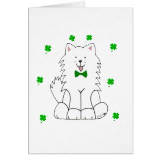 Cartão Dia de Patricks do santo do Samoyed