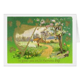 Cartão Dia de São Patrício irlandês da harpa do vintage