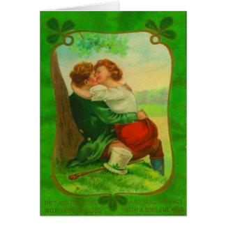 Cartão Dia de São Patrício irlandês romântico do casal do