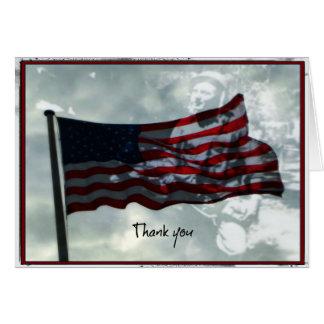 Cartão Dia de veteranos, bandeira americana e veterano de