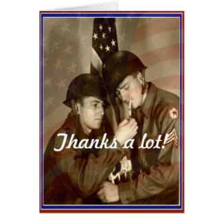 Cartão Dia de veteranos do vintage, obrigados muito! -
