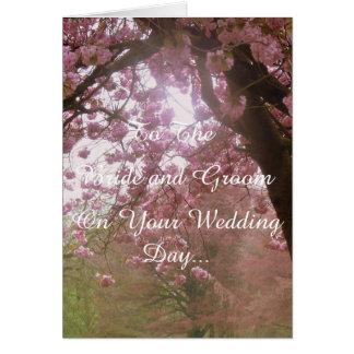 Cartão Dia do casamento cor-de-rosa da flor