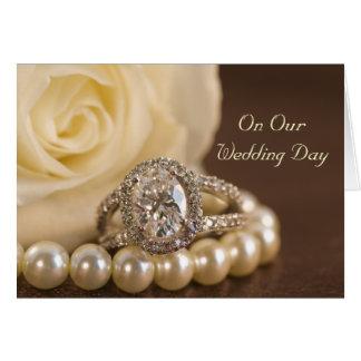 Cartão Dia do casamento do anel de diamante oval e do