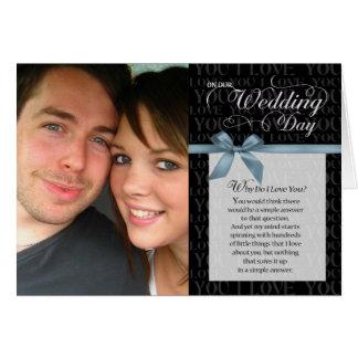 Cartão Dia do casamento, porque faça eu te amo - enegreça