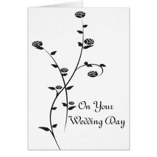 Cartão Dia do casamento preto e branco dos rosas