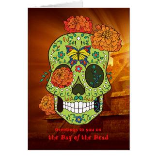 Cartão Dia do crânio & das flores inoperantes do açúcar