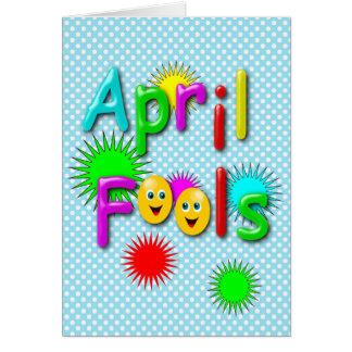 Cartão Dia dos enganados, polca colorida engraçada