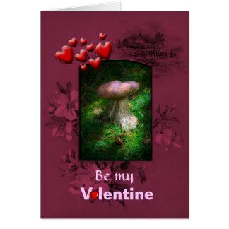 Cartão Dia dos namorados, cogumelo feericamente da
