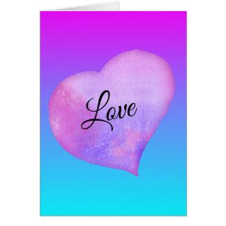 Cartão Dia dos namorados cor-de-rosa e azul do coração da