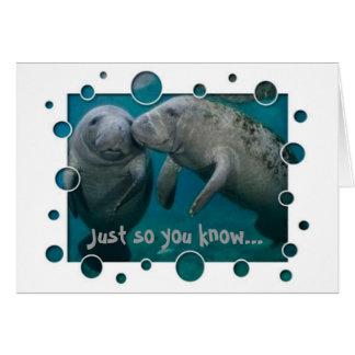 Cartão Dia dos namorados do amor do peixe-boi