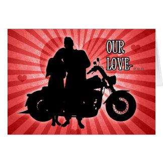 Cartão Dia dos namorados do cavaleiro da motocicleta