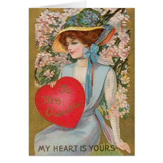 Cartão Dia dos namorados do vintage, senhora do Victorian