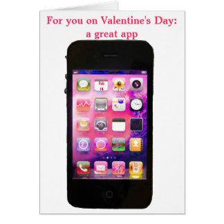 Cartão Dia dos namorados engraçado com iPhone App