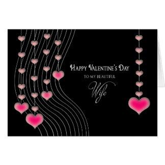 Cartão Dia dos namorados - esposa - preto/corações