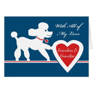 Cartão Dia dos namorados para avós, caniche bonito