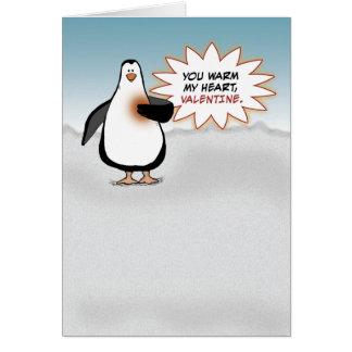 Cartão Dia dos namorados: Pinguim com coração morno