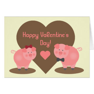 Cartão Dia dos namorados - porcos na lama