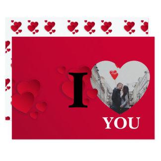 Cartão Dia dos namorados vermelho do quadro da foto dos
