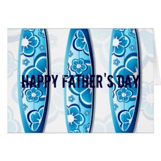 Cartão Dia dos pais azul da praia do verão das prancha