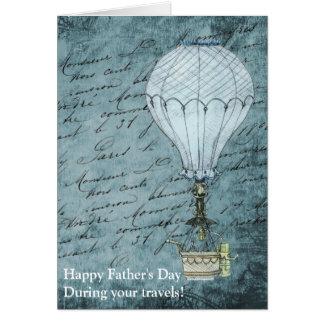 Cartão Dia dos pais azul de Steampunk do balão de ar