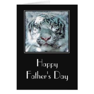 Cartão Dia dos pais branco do tigre
