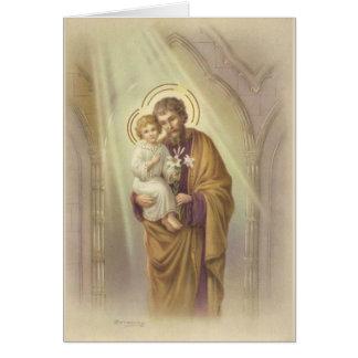 Cartão Dia dos pais de St Joseph do vintage