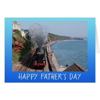 Cartão Dia dos pais do motor de vapor do vintage