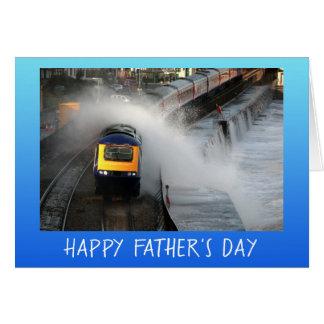 Cartão Dia dos pais do motor diesel e das ondas