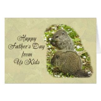 Cartão Dia dos pais feliz - bebê Groundhogs