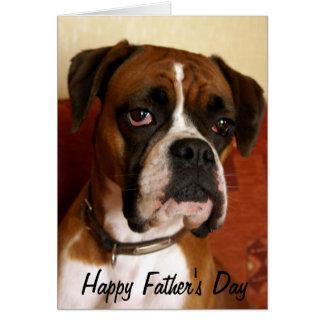 Cartão Dia dos pais feliz do cão do pugilista