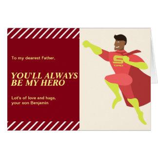 Cartão Dia dos pais feliz do pai do super-herói do