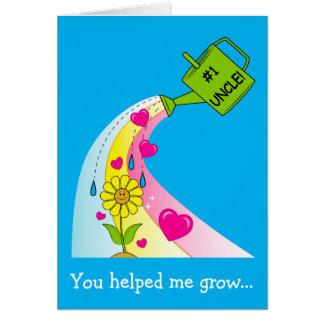 Cartão Dia dos pais feliz para o tio com arco-íris &