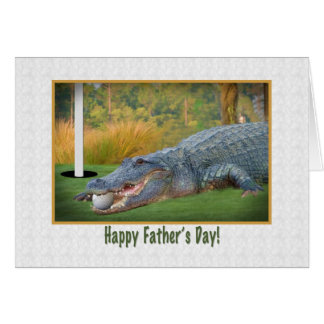 Cartão Dia dos pais, golfe, jacaré