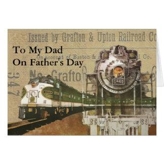 Cartão Dia dos pais locomotivo do motor de vapor do trem