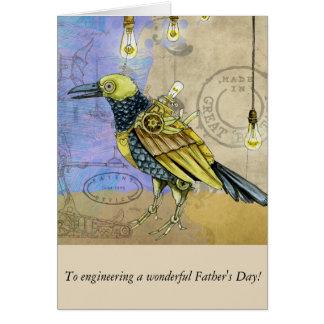 Cartão Dia dos pais mecânico da engenharia do pássaro de