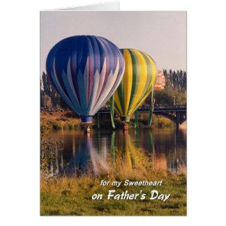 Cartão Dia dos pais para balões de ar quente do querido