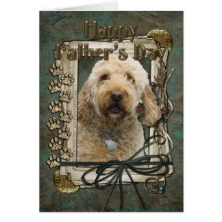 Cartão Dia dos pais - patas de pedra - GoldenDoodle