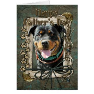 Cartão Dia dos pais - patas de pedra - Rottweiler -