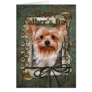 Cartão Dia dos pais - patas de pedra - yorkshire terrier