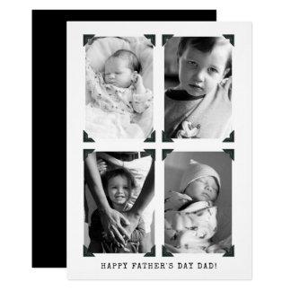 Cartão Dia dos pais preto e branco da foto do vintage