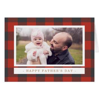Cartão Dia dos pais vermelho da xadrez