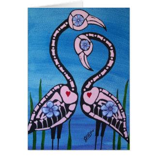 Cartão Dia dos pares cor-de-rosa inoperantes do flamingo