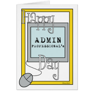 Cartão Dia dos profissionais do Admin com computador