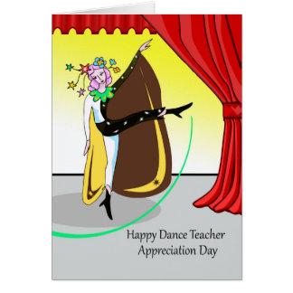 Cartão Dia feliz da apreciação do professor da dança,