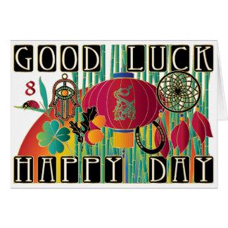 Cartão Dia feliz da boa sorte do Mah Jongg