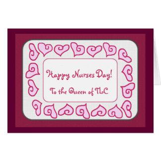 Cartão Dia feliz das enfermeiras à rainha do TLC