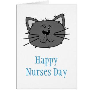 Cartão Dia feliz das enfermeiras com o gato para a