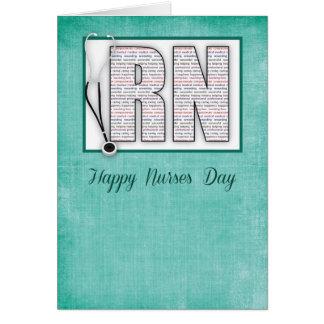 Cartão Dia feliz das enfermeiras do RN nas palavras, no