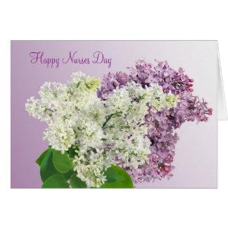 Cartão Dia feliz das enfermeiras - o Lilac floresce o